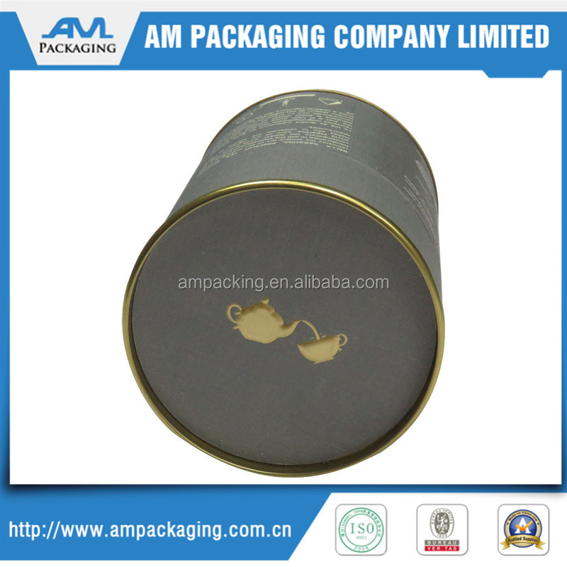 Luxury textured metal cap cardboard cylinder tea gift box with golden stamping logo