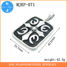 The current popular square stainless steel pendants with cross pattern for latest design jewelry