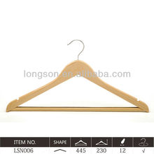 Best selling Curve series natural Wooden Coat Hanger W/ notches &bar LSN006