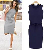 Summer party latest design 2015 Party Dress New Pencil Slim Dress Women Cotton Summer Sleeveless Casual Gray Evening Party ZT-