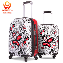 "hot sell 20 ""24 inch suitcase fashion butterfly abs trolley luggage suitcase"