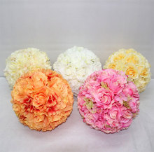 Customized Size Silk Rose Kissing Balls Decorative Hanging Artificial Flower Balls