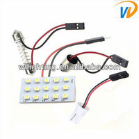 Hot selling!!!!Bright White 15-SMD Car LED Dome/Map Lights T10 and Festoon Adapter -WL