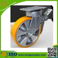 Welding table heavy duty PU swivel caster wheel with directional lock