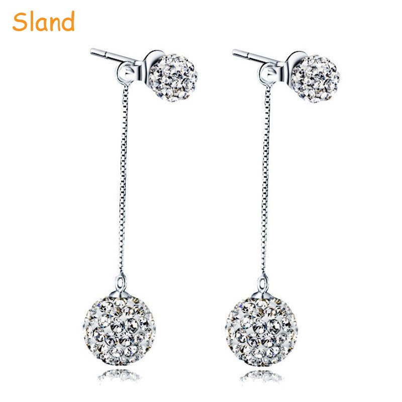 Alibaba Hot 925 sterling silver plated long chain dangle crystals drop earrings for girl&birthday