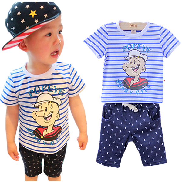 baby boys clothes set 2015 summer style Popeye sailor suit casual children's clothing sport suits t shirt+shorts kids clothes