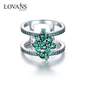Exquisite Fashion 925 Silver Emerald Diamond Ring For Women Jewelry