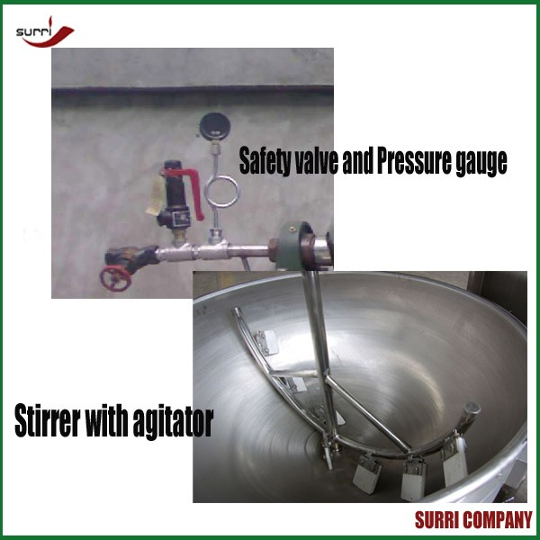 Double layer Gas or electric or steam Jacket Kettle with Agitator