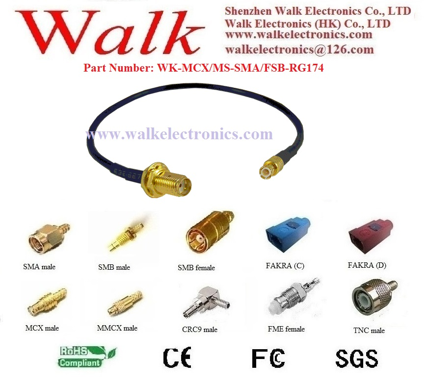 MCX male to SMA female cable, MCX male straight to SMA female straight with RG174 cable