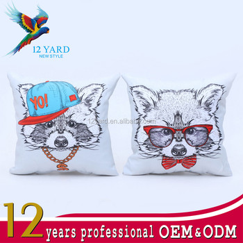 Hot sale cat cartoon sublimation logo printing material printed Canvas pillow