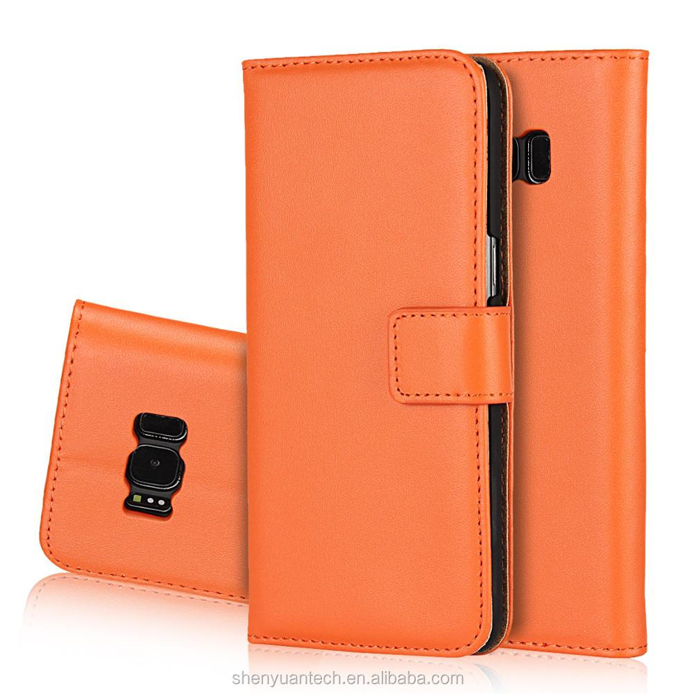 Split Leather Folio Flip Cover with Card Slots for Sg S8 Plus