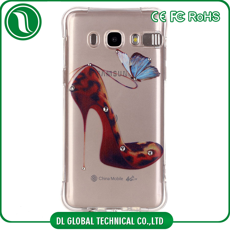 High crystal clear tpu incoming led flash light case with prints and diamond for samsung galaxy j7