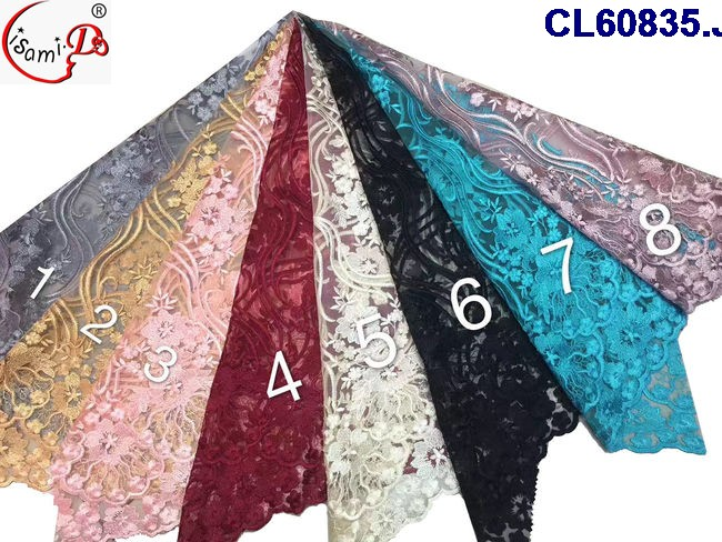 guangzhou supplier lace high quality french lace CL60835 for women kinds of elegant long and short dress