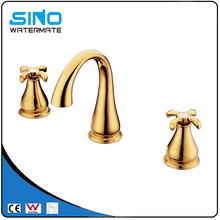Metered gold basin bathroom sink faucets two handles