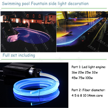 underwater outdoor side glow fiber optic swimming pool light