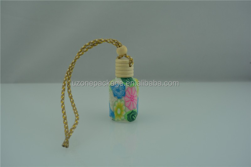 Colorful car hanging air freshener bottle with wooden cap