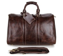 "China Wholesale Vintage Cowhide Leather Tote Bags Travel Bag 17"" Inch Laptop Duffle Bag # 7077C"