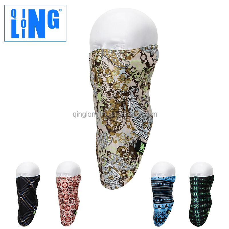 Winter Outdoor Fleece Ski Half Face Mask Polyester Neck Gaiter Customed Skull Printed Balaclava Face Mask