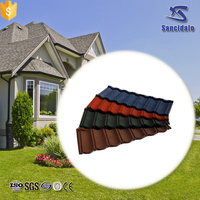 Chinese Interlocking Villa metal Stone Coated Roof Tiles with 50 years guarantee