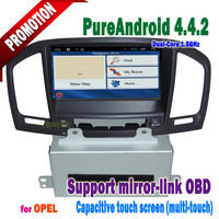 Capacitive screen 3g/wifi bluetooth android 4.4.2 mirror-link +hotspot+dvd/radio/mp3/TV car gps navigation for opel Insignia