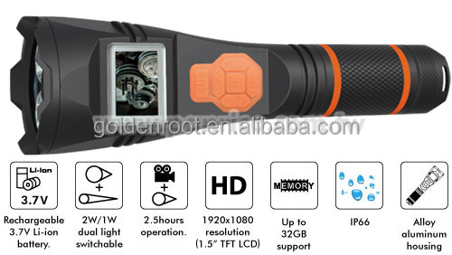 Police Equipment LED Flashlight Torch Camera Video Recorder / Flashlight DVR / Flashlight Camcorder with LCD Screen