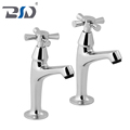 Chrome Plated Cross Handle Cloakroom Pillar Tap Bathroom Sink Twin Taps Deck Mount