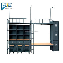 School students dormitory metal bed cabinet student bunk bed with cabinets / desk