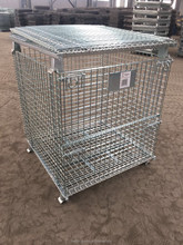 High Grade Folding Galvanizing Steel Warehouse Storage Cages