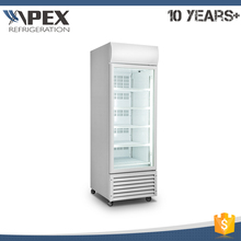 APEX energy saving LED vertical light commercial glass door refrigerator freezer with mullion heater