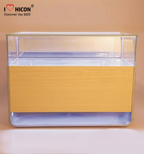 Economical Communication Store Wood Cabinet Glass Top Led Lighting Mobile Phone Showcase Display