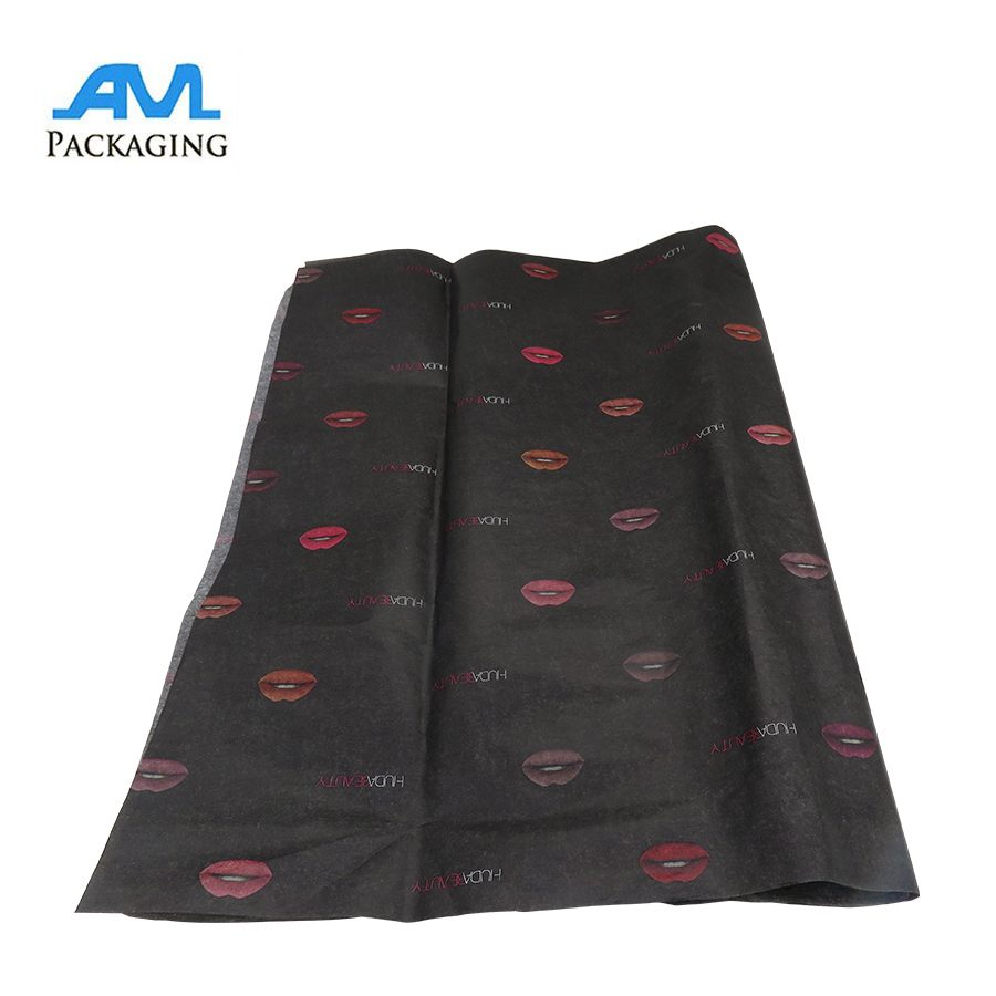 wholesale custom black printing logo and size gift wrapping silk tissue paper