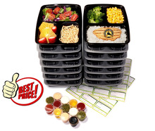 Goods 3 Compartment Reusable Food Storage Containers with Lids, Plastic Lunch box