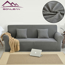 Jacquard couch sofa set fabric l shape sofa cover Slipcover knitting sofa cover with check design-green colour