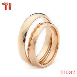 OEM factory tungsten carbide wedding rings silver black with multi-facet rose gold ring for men women bands