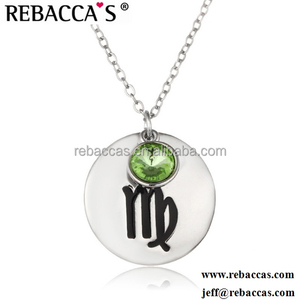 Fashion silver necklace jewelry 12 zodiac pendant charm necklace fashion changeable pendant necklace