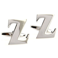 Letter Z Cuff Links Silver Alphabet