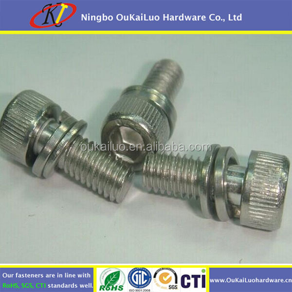 Hex socket cap head knurled screw with washers Stainless steel plain