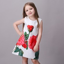 New Model Girl Dress Rose Baby Girl Printed Casual Dress Fashion Kids Summer Dress L-113
