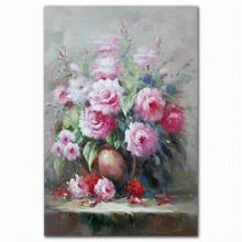 Beautiful pink rose flower oil painting for living room