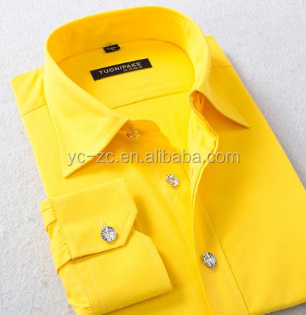 Custom quality shirt indonesia shirt office casual yellow dress shirt