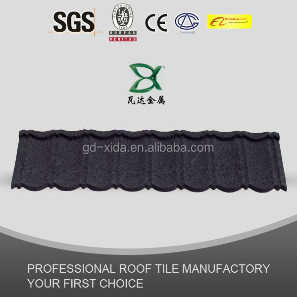 1345*420mm Charcoal Black Aluminum Zinc stone coated metal roof tile