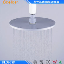 "Beelee BL3608P Wall Mounted Bathroom Rainfall Electric Round 8"" Brass Shower Head with Painting White Color"