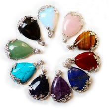 DIY Accessories Wholesale Raw Crystal Rough Stone Amethyst Opal Black Agate Tear Drop Druzy Pendant