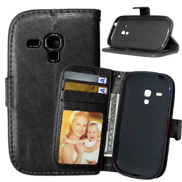 For Samsung Galaxy S3 Mini Magnetic Flip PU Leather Wallet Case with Photo Frame Card Holder Stand fundas Mobile Phone Cover