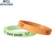 Wholesale customized silicone wristbands cute panda glow in the dark silicone bracelet