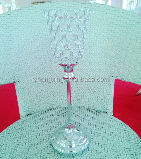CH56 Crystal Gems Globe Candle Holder With Aluminium Base made in China