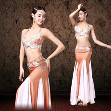Top Grade Performance Belly Dance Sexy Egypt Costume set 2pcs Outfit Plus Size Bra C/D Cup Flamenco Skirt Adult Costume Set