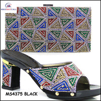 MS4375 BLACK Ladies high heel shoes and bags to match
