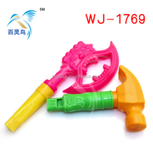 Hot sell axe and hammer plastic whistle baby toys