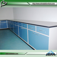science lab benches/full steel floor mounted wall bench